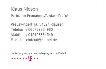 Telekom Visitenkarte